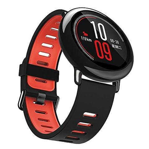Für Xiaomi Huami Amazfit A1602 Transer® Ersatz Uhrenarmbänder Fashion Silikon Uhrenarmband Armband für Uhren Länge: 145cm-230mm (schwarz)
