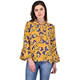 RITU DESIGNS Partywear Georgette Mustard coloured women's top