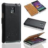 Ledertasche für Samsung Galaxy Note 4 - ***ECHT LEDER - HANDGEFERTIGT*** - Hülle Case Etui Flip Case Schutzhülle - SCHWARZ - CoinKeeper