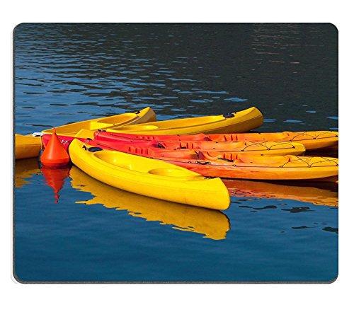luxlady Gaming Mousepad imagen ID: 23258812Amarillo Brillante Rojo y canoas moored con...