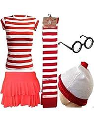 Donde esta para mujer WALLY rojo y blanco gorro tipo T-diseño de camiseta de calcetines de e instrucciones para hacer vestidos FANCY copas de disfraz infantil de (UK 8-10) disfraz de