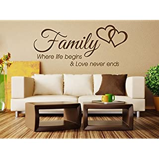 Family Wall Quote Where life begins Vinyl Sticker Wall Art Home Mural Decal Colour=Black | Size=X-Large 112cm (w) x 49cm (h)