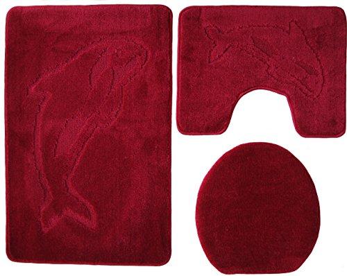 Delfin Badgarnitur 3 tlg. Set 55x85 cm Bordeaux WC Vorleger mit Ausschnitt geprüft nach OEKO-TEX Standard 100