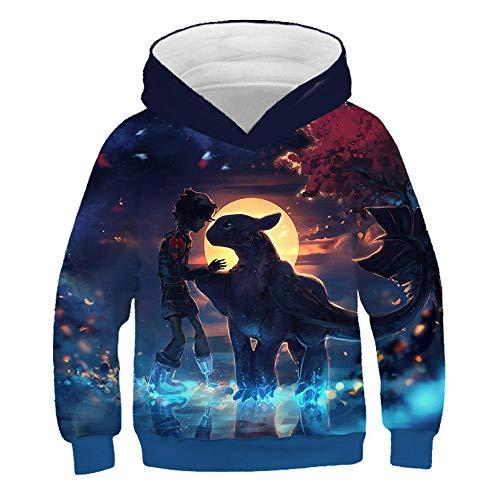 YXRL Kinder Sweatshirt Dragon 3D Print Kapuzenpullover Langarm Hoodie Oberbekleidung Blue B-140 -