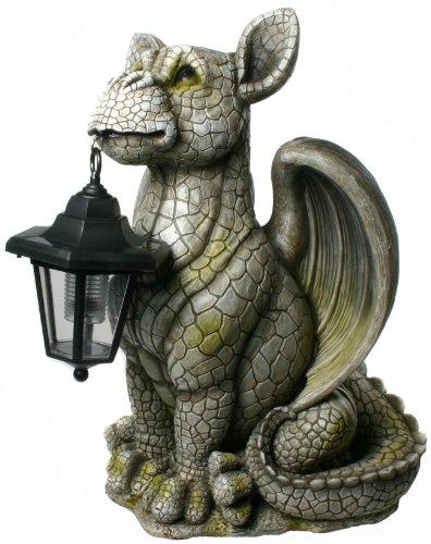 XL Drachenkind mit Solar Laterne Drache Figur Gargoyle - Xl Drache
