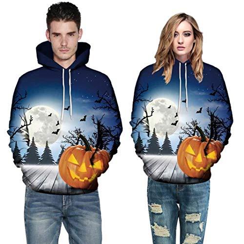 Bringbring Damen Herren Halloween Sweatshirt Pullover mit Kapuze GroßE GrößE 3D Drucken Herbst und Winter Tarnung Langarm Punk Freizeit Locker(M, Blau)