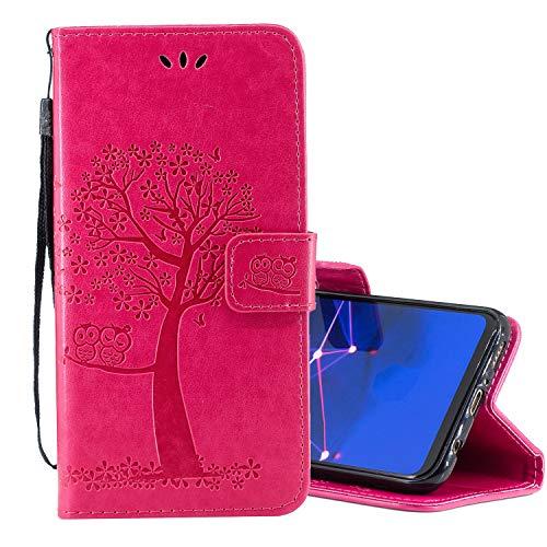 lle für Huawei P Smart Z,Schutzhülle Pu Leder Lustig Geprägt Baum Eule Magnetverschluss Wallet Brieftasche Lederhülle Etui mit Standfunktion für Huawei P Smart Z ()