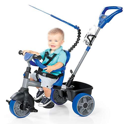YUMEIGE Dreiräder Dreiräder Dreirad Last Gewicht 25 Kg Kleinkind Trike mit Sonnenschirm Kinderwagen 5-Punkt-Sicherheitsgurt für Kinder von 18 bis 36 Monaten Geburtstagsgeschenk (Color : Blue)