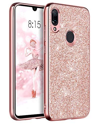 BENTOBEN Funda Xiaomi Redmi Note 7/Redmi Note 7 Pro/Note 7s Carcasa Cover Ultra Delgada Brillante Purpurina Resistente Silicona PC Protectora para Xiaomi Redmi Note 7/Note 7 Pro/Note 7s 6.3''-Oro Rosa