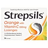 Strepsils Orange with Vitamin C Lozenges, 36 Lozenges
