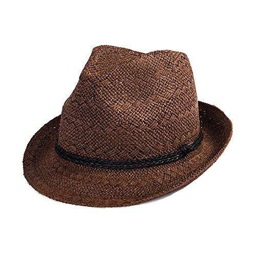 SIGGI Panamahut Sonnenhut Strohhut Fedora Hut Handgemacht Herren kaffeebraun (Klassische Derby-hut)
