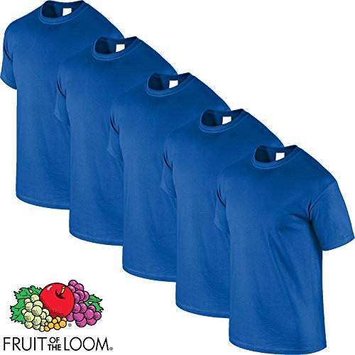 Fruit of the Loom 5 x Pack Of Crewneck Tshirts All Sizes and Colours t Shirt top tee t-shirt Blau - Königsblau