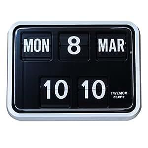 Rétro Moderne Twemco Allemand à quartz calendrier horloge murale à rabat BQ 17(Noir/Blanc)