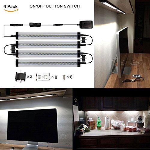 GreenSun 5W LED Unterbauleuchte Lichtleiste Küchenleiste, Transparent LED Küchenleuchte Küchenlampe,DC 24V 50cm, 6000K ,LED Schrankbeleuchtung ,Schrankleuchte, Schranklampe Mit Schalter 4er Pack