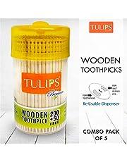 Tulips Wooden Toothpicks 250 Sticks in a Reusable Jar