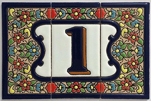 Piastrelle in ceramica con lettere e numeri modello fiore blu