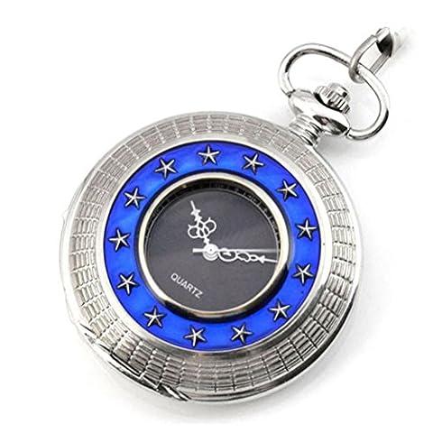 JIA&YOU Retro classique 13 stars hommes et dames collier montre Pocket Watch