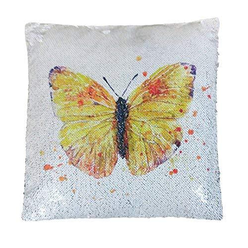 """Papillon Ombre Dégradé Blanc Orange Jaune Sequin Clapet Sirène 16"""" -40 cm Coussin"""
