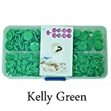 Seawhisper Starter Pack of 50 Complete Snaps/T5 Plastic Snap Fasteners Sets for Sewing Cloth Diaper/Bibs/Unpaper Towels/Nappies/Buttons/Mama Pads - A18 Kelly Green