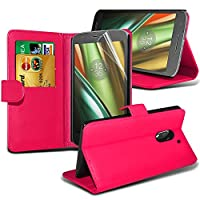 Samsung Galaxy J3 2017 case ( Hot Pink ) Cover for Samsung Galaxy J3 2017 Wallet Case Durable Book Style PU Leather Wallet Elegant Classic Flip cover Case Skin Cover+ LCD Screen Protector Guard, Polishing Cloth Samsung Galaxy J3 2017 Wallet + FREE SCREEN