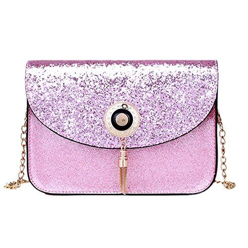 DOLDOA Tasche Damen Damenmode Pailletten Handtasche Schultertasche Kleine Tote Damen Geldbörse (Rosa) -