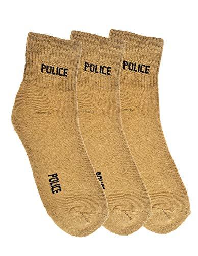 Crux&hunter Men's Cotton Polyester Ankle Length Police Socks, Free Size- Pack of 3 (Khaki)