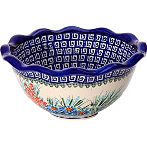 Polish Pottery 0413/169 Ceramika Boleslawiec Fala Bowl Small Blue Daisy and Orange Phlox