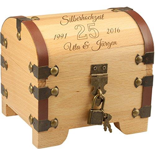 Schatztruhe - Silberhochzeit: Vintage Holztruhe mit Schloss und Gravur: personalisiert mit Namen und Datum - Geldgeschenk originell verpacken zur silbernen Hochzeit