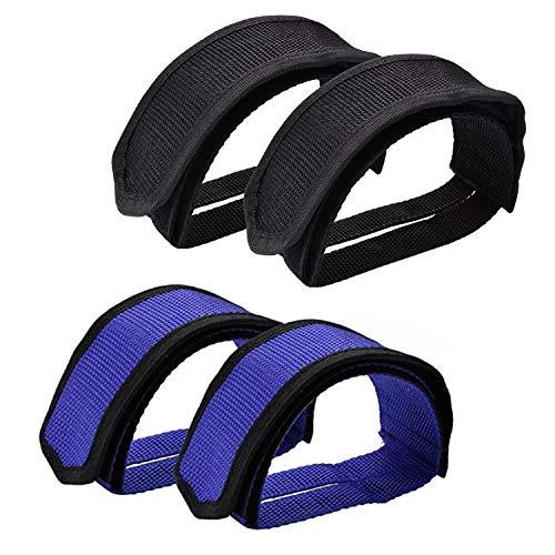 REYOK 2 Paar Pedal Straps, Fahrrad Füße Strap Bike Strap für Fixed Gear Bike, Einfache Installatio Schwarz und blau