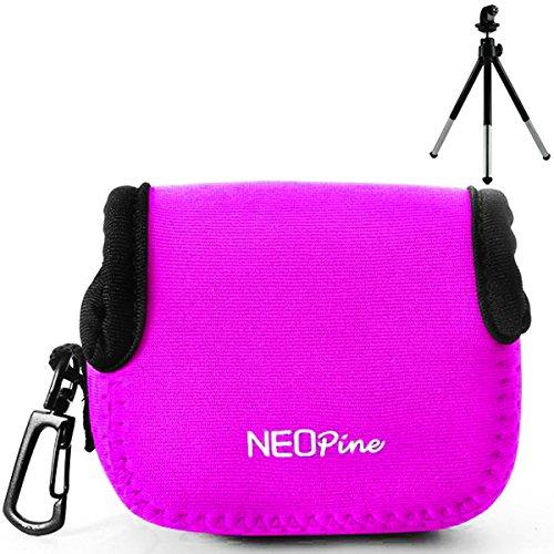 First2savvv QSL-GO-02G6 pink Flexible Neopren DSLR / SLR Kameratasche für GoPro HERO 4 3+ 3, 2 1 + Mini-Stativ