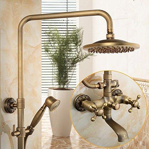 Luxurious shower Antike dusche Messing antik Regen fallen Dusche Wasserhahn Wasser mit Messing Duschkopf mit Wand messing Handbrause, Multi (Multi Pure Wasser)