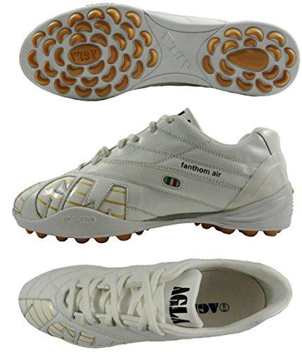 AGLA PROFESSIONAL FANTHOM AIR OUTDOOR scarpe calcetto in pelle con anti-shock Bianco