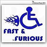 Vinilo adhesivo, diseño con logo de discapacitados con texto
