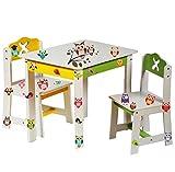 alles-meine.de GmbH 3 TLG. Set: Sitzgruppe für Kinder - aus sehr stabilen Holz - weiß -  Bunte Eulen  - Tisch + 2 Stühle / Kindermöbel für Jungen & Mädchen - Kindertisch - Kind..