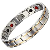 Moneekar Jewels Silver Magnetic Therapy 4 Elements 316L Stainless Steel Pain Relief Arthritis