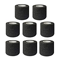 "Tattoo Grip Tape, Tazay 8pcs 2""x 5 Yards Tattoo Grip Cover Wrap Black Disposable Self Adhesive Cohesive Bandage Tape Handle Grip Tube for Tattoo Machine Grip Accessories, Sports Bandage"