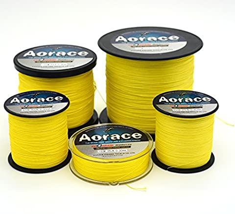Aorace Braid Fishing Line 25LB Strong and Abrasion Resistant 500M Fiber Material Fishing Line Yellow Advanced