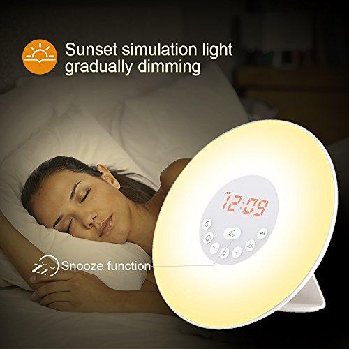 Generic 6638D Wecker Wake Up Light Lichtwecker, mit 7 Wecktöne, 7Farben, 10Dimmstufen (Neue Version) - 3
