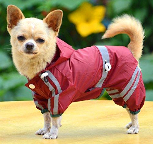 Imagen de xiaoyu mascota cachorro cachorro de perro chaqueta impermeable impermeable con  para perros pequeños medianos, rojo, xxl