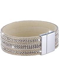 Morella Damen Glitzerarmband veredelt mit Zirkoniasteinen und Elementen Magnetverschluss