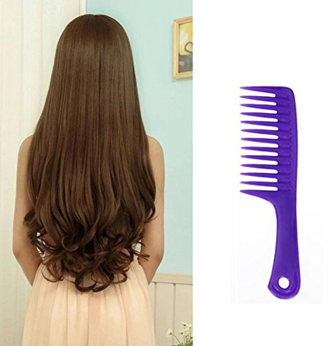 Upxiang Kunststoff Detangler Griff Wide Zahn Kamm Nass Haarschnitt kämme Haar Kamm Friseur kämme (Lila)