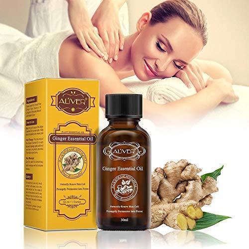 KOBWA Ginger Öl Ingwer Ätherisches Öl Lymphatic Drainage Ginger Öl Massageöl Körper Lymphdrainage Ingweröl, 30ml Entspannen Lymphatic Drainage Ginger Oil Entlasten Muskelkater
