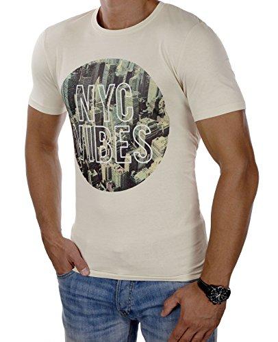 JACK & JONES Herren T-Shirt jorHELLO Tee Shirt Print Rundhals Slim Fit Beige (Silver Birch Fit:SLIM)