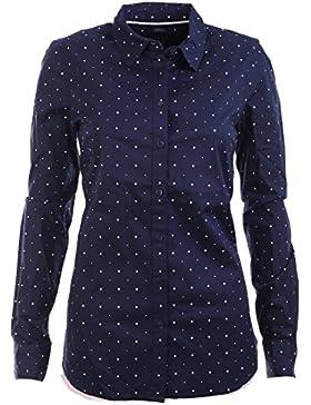 Tommy Hilfiger Damen Bluse Business Hemd Damenbluse dunkelblau Punkte Größe S