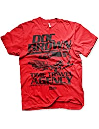 Officiellement Sous Licence Doc Brown Time Travel Agency Hommes T-Shirt (Rouge)