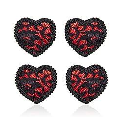 Idea Regalo - Domowin Copricapezzoli in silicone, Donna Cuore scintillante Riutilizzabile Nipple Cover Una coppia di Pasties A forma di cuore 2 Coppia (Pizzo Nero&Rosso)
