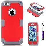 Funda para Apple iPhone 5c Antigolpes, Moonmini® Carcasa Fuerte Antideslizante Golpes Resistente Case - Red + Grey