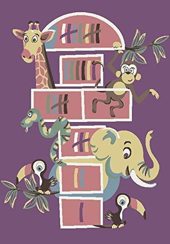 Teppich Kinderzimmer Jungen - Kinder Jugendzimmer Wohnzimmer - Tiere Motiv - Pastellfarben