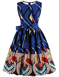 Ladyjiao Femmes 50\u0027s Stripe Ethnique Africain Print Vintage Robes de Soirée  Rockabilly Cocktail Party Dress Grandes