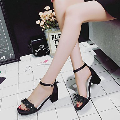 LvYuan Da donna Sandali Comoda PU (Poliuretano) Estate Casual Footing Comoda Lustrini Fibbia Quadrato Bianco Nero Rosa Chiaro 2,5 - 4,5 cm White